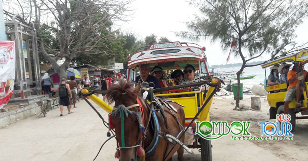 Ibu Lani dan Sahabat Naik Cidomo di wisata Gili Trawangan Lombok